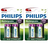 4 x Philips taille C rechargeables 3000 mAh Ni-MH Batteries HR14 LR14 MN1400