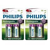 Philips - Lote de 4 pilas recargables de Ni-MH, tamaño C (3000mAh, HR14,LR14,MN1400)