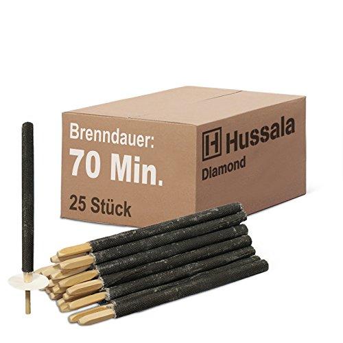 Hussala - Diamond Wachsfackeln Brennzeit 70 min Garten-Fackeln [25 Stück]