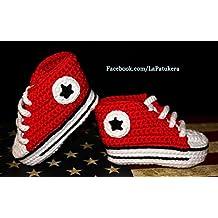 Patucos bebé. Crochet. Unisex. Estilo Converse. Color rojo. 100% algodón