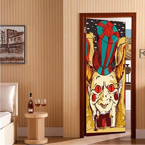 GLYOUNG Türaufkleber Tür Aufkleber Halloween Scary Clown 3D Mode Aufkleber Kunstdekor Wand Fenster Removable Wandbild Szene Dekoration