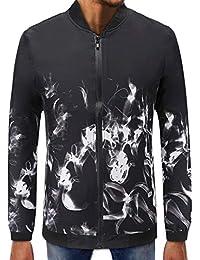 BUSIM Men's Long Sleeve Sweater Autumn Flame Print Zip Pullover Baseball Wear High-Neck Slim Sweatshirt Jacket...