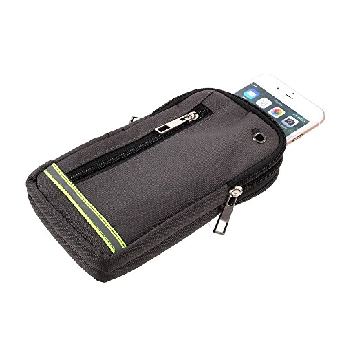 DFV mobile - Multipurpose Reflective Universal Belt Case with 3 Compartments for for => BLU Life Mark > Green (17 x 10 cm) -