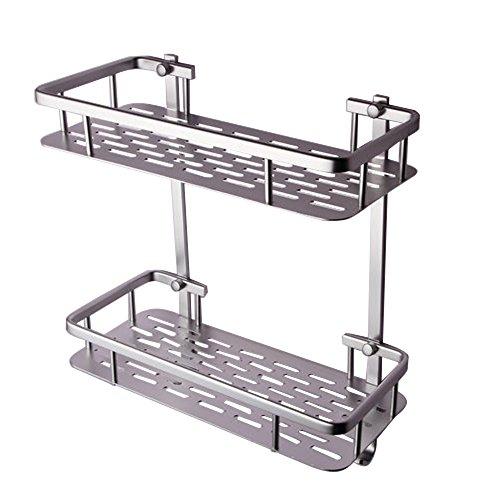 onkuey langlebiges Aluminium Badezimmer Regal Dusche Ablageflächen Körbe Wand montiert, rechteckig, 1-stöckig, Aluminium, silber, 2-Tier -