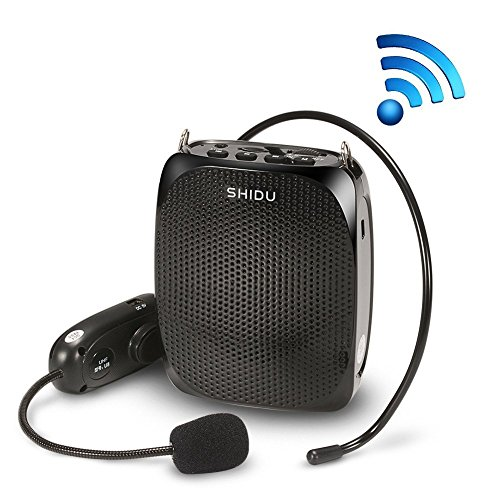 Voice Amplifier, SHIDU Wireless Voice Amplifier 10W Rechargeable Portable PA System Speaker with UHF Wireless Microphone Headset Support MP3 Play for Teachers, Yoga, Tour Guides,Trainers (S615) -