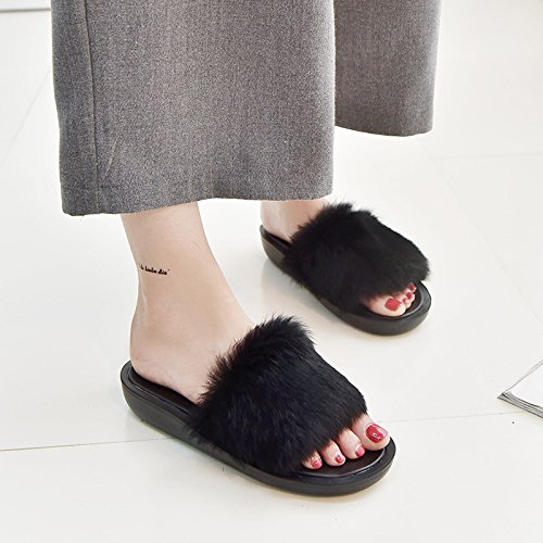 Preta Doces Palavra De Terreno Cor Salto Flat Wzg Com Mulheres Pesado Coelho Pele De Mulheres Dos sapatos Chinelos De agUdxg