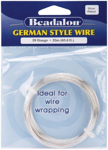 Silver German Style Round Wire 26 Gauge 65.5 Feet/Pkg 180B-026