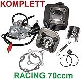 Unbranded 70ccm Racing Zylinder Kopf + VERGASER 17,5mm Satz für KREIDLER FLORETT RS 50 Zylinderkit