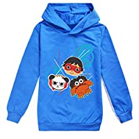 Boys & Girls Ryans Hoodie World Vlogger YouTube Toy Review Kids Captain Costumes (Blue, 120(110-120cm))