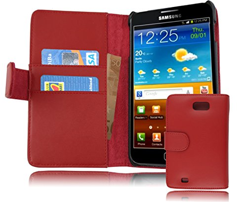 Cadorabo - Etui Housse pour Samsung Galaxy NOTE 1 (N7000) - Coque Case Cover Bumper Portefeuille (avec fentes pour cartes) en ROUGE CERISE