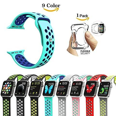 CHOK Idée Apple Watch Bracelet Strap, [avec clair TPU Coque], Nike + Style souple en silicone Sport Sangle de remplacement pour Apple montre Série 1/2,38mm/42mm, 9couleurs, Mint Green-Navy, Series 2(2016) 38mm (6