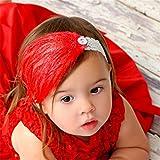 Süß Baby Kind Säugling Feder Diamant Blumen Stirnband Haarband Haarschmuck Rot