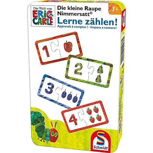 Schmidt Spiele 51238 Kleine Raupe Nimmersatt, Lerne zählen, Reisespiel in der Metalldose, bunt (3 Zahlen Zugabe Von)
