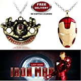 (2 Pcs AVENGER SET) - IRONMAN HANDS (GOLD) & IRON MAN HELMET (RED/GOLD) IMPORTED PENDANTS WITH CHAIN. LADY HAWK DESIGNER SERIES 2018. ❤ ALSO CHECK FOR LATEST ARRIVALS - NOW ON SALE IN AMAZON - RINGS - KEYCHAINS - NECKLACE - BRACELET & T SHI