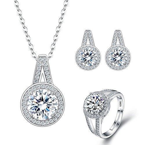FANZE Mujer 925 mujeres de plata de ley de todos los redondos cúbicos Zirconia boda colgante collar cuelgan pendientes anillo ajustable 4 piezas conjunto