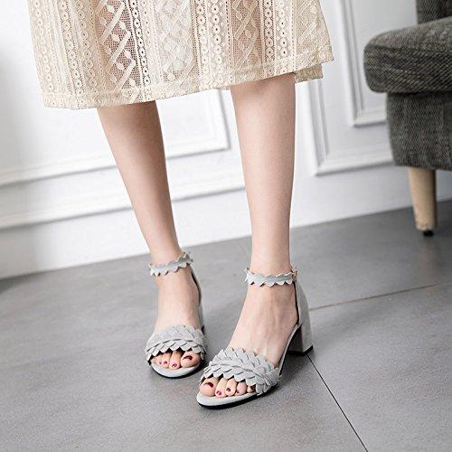 Senhoras Sapatos Boca De Sandália Das Cinza Couro 37 Verão De Peixe RwFrwtq