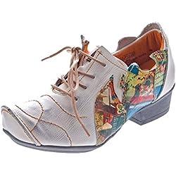 TMA Leder Damen Halbschuhe Schnürer Weiß Comfort Schuhe echt Leder Pumps TMA 8088 Gr. 40