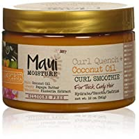 Maui Moisture Curl Quench + Coconut Oil Curl Smoothie, 12 Ounce, Creamy Silicone Free Styling Cream for Thick Curls, Twist-Outs, Braids, Wash-and-Go Styles
