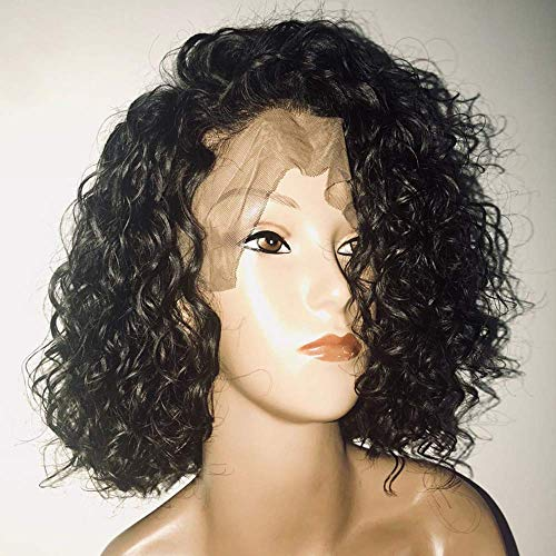 BT-WIGIG Perücken Echthaar LockigKurze Lace Front Human Hair BOB Wigs for Women Pre Plucked Hairline with Curly Hair Brazilian Remy Hair Natural Black 14inch -