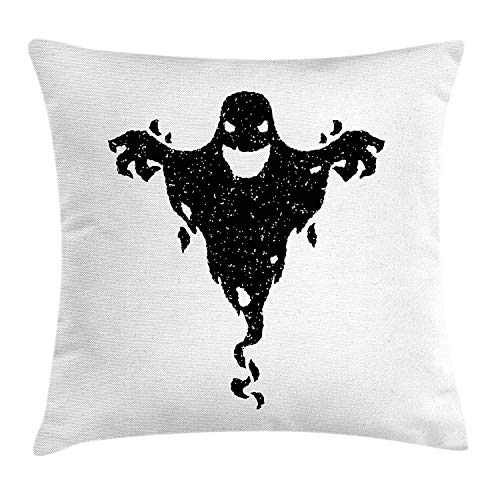 (Scary Throw Pillow Cushion Cover, Halloween Theme Black Ghost with Grungy Display Mysterious Spooky Fantastic Icon, Decorative Square Accent Pillow Case, 18 X 18 inches, Black White)