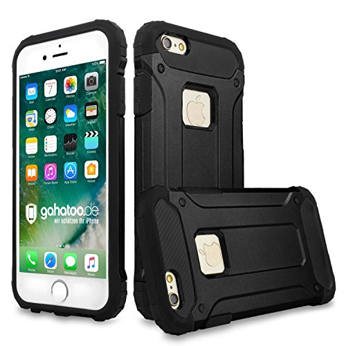 gahatoo iPhone 5 / 5s / SE Panzer Outdoor Case Hülle Ultra Slim [Hybrid TPU Silikon Hardcase] Handyhülle in Schwarz [Tactical Military Defender]