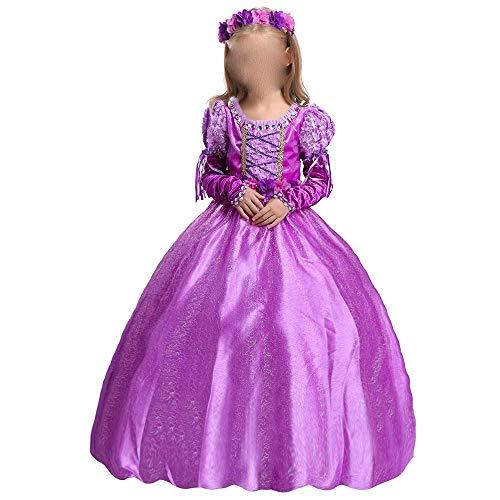 Zhao Li Performance-Bekleidung Kinderbekleidung Sophia Langes Haar Prinzessin Kleid Mädchen Kleid Kindertag 1 Performance-Kleidung Kinder Rock, Lila (Color : Purple, Size : 130CM)