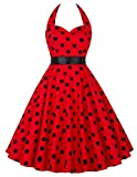 Donne 1950 Vintage con allacciatura al collo di Polka Dots Dress Cotone M YF4599-6