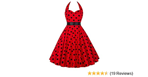 Yafex Pinup Polka Dot Vintage 1950s 1960s Swing Prom Dress Medium RED: Amazon.co.uk: Clothing