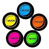 Moon Glow - Sombra de ojos UV de neón 3.5g Set de 5 colores - produce un brillo increíble bajo la iluminación/retroiluminación UV!