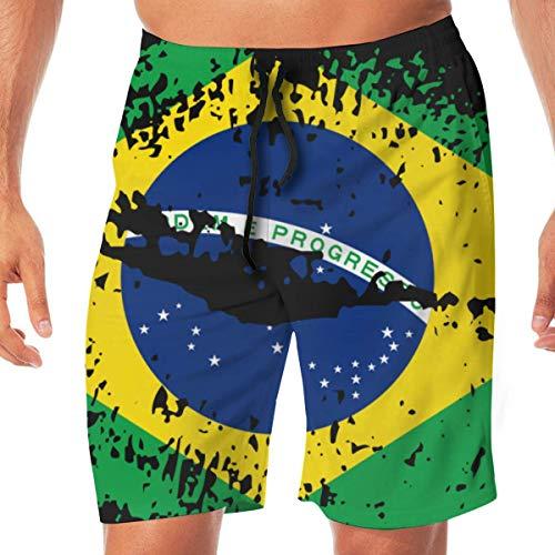 Men's Swim Trunks Brazil Flag Lips Summer Vacation Beach Boardshort with Pocket,L -