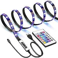AMIR Ruban à LED RGB pour HDTV, Rétroéclairage TV, USB Powered Imperméable Flexible Rétro-éclairage, Lampe à Rayons LED Multicolores avec Télécommande