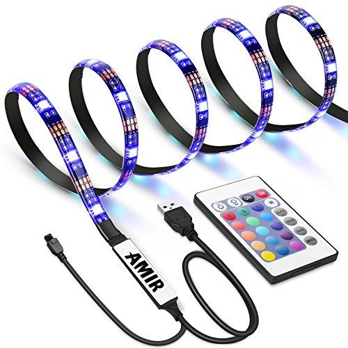 AMIR LED Streifen, 30 LED 1M Farbe Wechselnden LED Streifen Licht mit 24 Geschmacks Fernbedienung, IP65 Wasserfest LED Lichtband für TV Bildschirm, Desktop, PC, Halloween, Camping usw