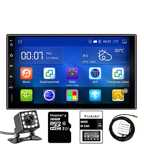 LED 7 Zoll 2 Din Autoradio Android 5.1 GPS Navigation Auto Stereo Audio Radio 1080P Video Player armv7 Quad Core WLAN Bluetooth AM/FM/RDS Lenkradsteuerung ()