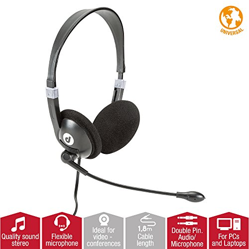 High Quality Headphones with Microphone for PC, Black