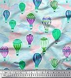 Soimoi Grun Baumwolljersey Stoff Wolke & Heißluftballon