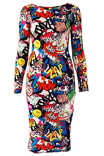 LADIES WOMENS LONG SLEEVE STRETCH JERSEY BODYCON PRINTED MIDI DRESS PLUS SIZE DRESS BANG PRINT UK 8-10 = US 4-6