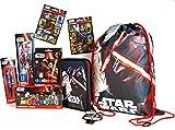 Star Wars Set da 35 pezzi – Sacca sportiva/Sacca per scarpe + Astuccio / Astuccio / Astuccio + 12 pennarelli + 2 penne + Set 4 Matite HB con temperamatite + Set 12 X plastilina colorata + 2 X sacchetti adesivi con 16 adesivi