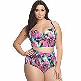 Ailin home- Europa e Stati Uniti per aumentare la dimensione di sexy costume da bagno stampa incrociatore basso basso vita bikini costume spaccato piega ( Colore : Multicolore , dimensioni : XXL )