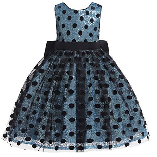 Zylione MäDchen Kleid Baby Sleeveless Mesh Polka Dot Bogen Backless Prinzessin Kleid Partykleid Kleid Rock Graduation Ball Rock Kinder Tag Geschenk
