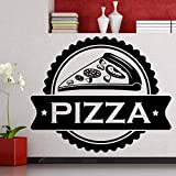 yaoxingfu Pizza Food Lettering Citazioni Adesivi murali Rimovibili per Cucina Sfondo Home Decor Vinyl Stickers murali Fast Food Pizzeria Rosso 105x85cm
