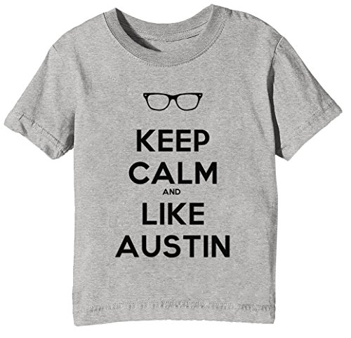 Keep Calm And Like Austin Kinder Unisex Jungen Mädchen T-Shirt Rundhals Grau Kurzarm Größe XL Kids Boys Girls Grey X-Large Size XL