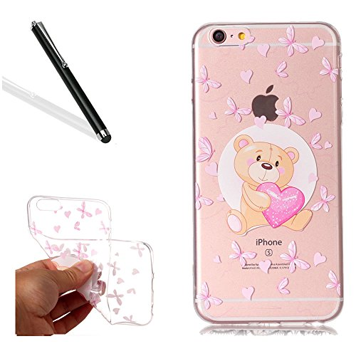 Chiaro Custodia pour iPhone 6S Plus,Transparent Cover pour iPhone 6 Plus,Leeook Creativo Carina Divertente Sottile Crystal Clear TPU Gel Silicone Custodia Amore Cuore Bruno Orso Design Morbida Flessib Amour Coeur Marron Ours