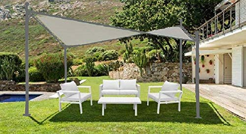 Salone-negozio-online gazebo acciaio con vela 4x4 colore bianco, struttura antracite