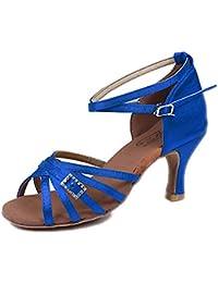 Mujer Latino Tejido Sandalia Tacones Alto Rendimiento Hebilla Tacón Cubano Fucsia Marrón Azul