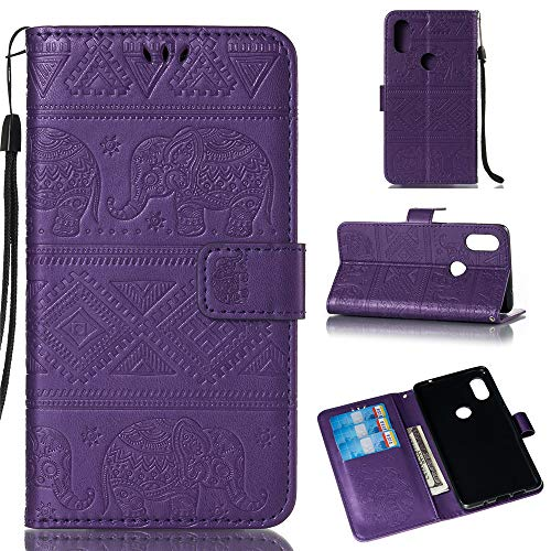 BestCatgift Mi Mix 2S Wallet Funda, [Embossed Elephants] Magnetic Protective PU Leather Flip Folio Cover para Xiaomi Mi Mix 2S - Purple