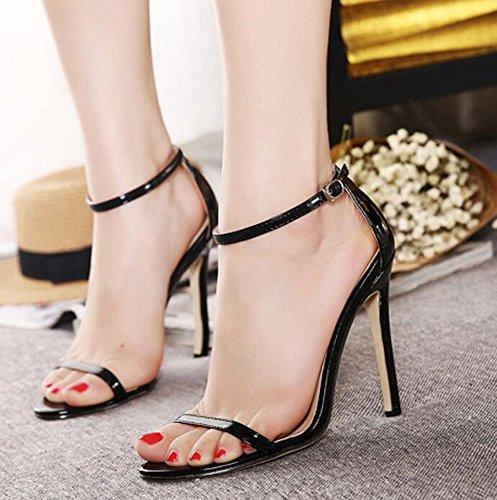 Wealsex Sandales Escarpins Cuir Vernie Boucles Talon Haute Aiguille Cheville Bout Ouvert Chaussure Talon Sexy Ete Femmes Noir