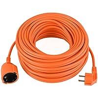 DECKEY Cable alargador eléctrico para jardín 10M IP20 Alargador cable de PVC de alta calidad Naranja (10 M)