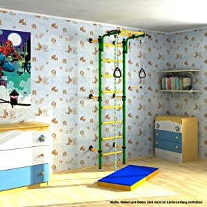 indoor kletterger st f r kinder sprossenwand kletterwand f r kinderzimmer farbe gr n. Black Bedroom Furniture Sets. Home Design Ideas