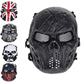 ZIXUAN Skull Mask Cosplay, Skull Airsoft Mask Paintball Full Face Party Mask Giochi di Esercito Mesh Eye Shield Mask per Decor Party,B