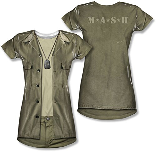 M*A*S*H - Junge Frauen Hawkeye Kostüm (vorne / hinten Print) T-Shirt, Small, White